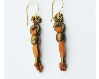 Cascade - tan leather earrings with handmade brass details on 24k gold vermeil french hooks
