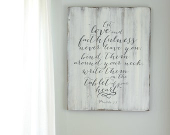 Scripture Wood Sign Love Sign Reclaimed Wood Wall Decor Bible Verse Sign Wedding Gift Anniversary Gift Distressed Wood Sign Christian Quotes