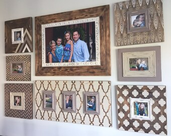 Wall gallery, wall collage, gallery frames, stained frames, rustic frames, painted frames.