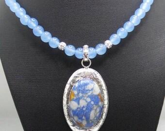 Handmade Aquamarine beaded necklace with Blue Mosaic Jasper pendant.