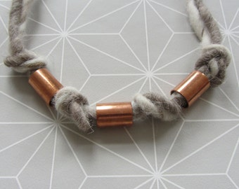 Felted necklace with copper elements