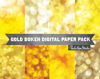 Bokeh Digital Paper Pack, Gold Bokeh Backdrop, Bokeh Overlay, Commercial Use, Digital Paper Pack, Instant Download Images
