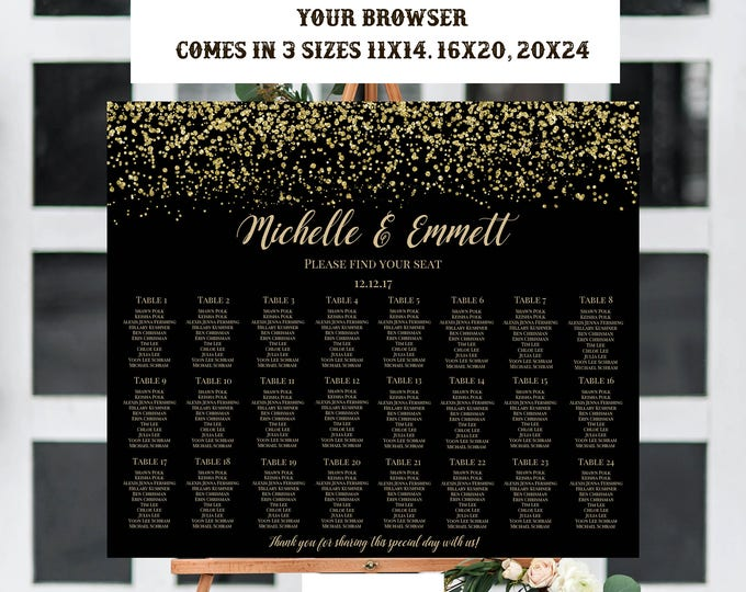 Black and Gold Seating Table Chart Template, Gold Glitter, Gold Wedding Template, Black and Gold Template, Instant Download, DIY, Black,Gold