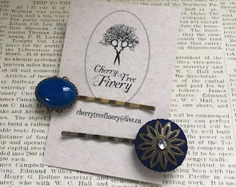 VTG Salvaged/Recycled Blue Bobby Pin Set