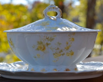 Antique Haviland & Co. France Limoges china gravy boat with attached underplate and lid, Schleiger 63, covered bowl, yellow flowers roses