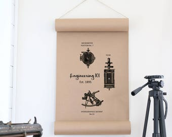Engineering Wall Art,Engineering Decor,Paper Scroll Sign,Office Decor,Office Wall Art,Farmhouse Decor,Cottage Decor,Gift For Him,Wall Decor