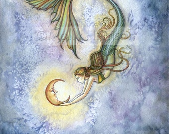 Mermaid Fantasy Fairy Art Print by Molly Harrison 'Deep Sea Moon' 8 x 10