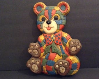 Vintage Patchwork Teddy Bear Wall Hanging - 1970's