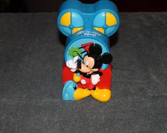 Mickey Mouse Hard Plastic Block Bank still sealed over opening
