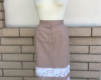 "Vintage 70s Skirt ""Human With Dog Footprints in the Sand"" Print Signed by Malia Honolulu XS"