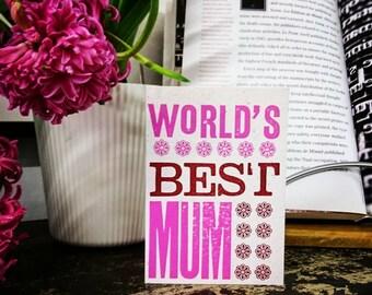World's Best Mum letterpress Mothers Day Birthday card