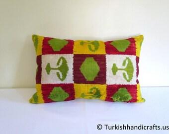Set of 2 Silk Velvet Pillow Cover, Velvet Ikat Pillow Cover, Silk Uzbek Velvet Pillow Cover, Handmade Silk Velvet Pillow