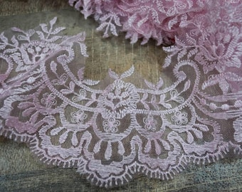 Pink lace trim, trim lingerie, 4-8 cm width, garment decor trim lace-1 / yard