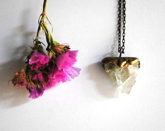 Raw Fluorite Necklace Raw Stone Jewelry Rough Fluorite Stone Brass Jewelry Natural Stone February March Birthstone Pisces Mothers Day Gifts