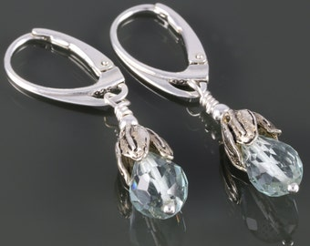 Aquamarine Drop Earrings. Sterling Silver Leaves. Genuine Aquamarine. March Birthstone. Lever Back Ear Wires. s16e031