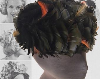 Vintage 60s Feather Hat Pillbox Hat BlackFeathers Womens Headwear Mid Century Fashion 1960s Halloween Costume Retro Sophisticated Womens Hat