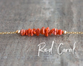 Red Coral Necklace, Crystal Necklace, Raw Stone Necklace, Summer Jewelry, Raw Coral Necklace, Gift for Women, Dainty Layering Necklace