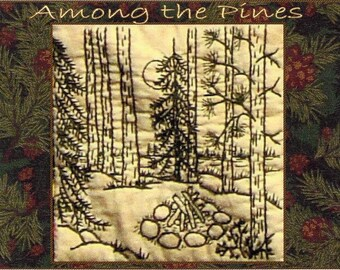 Among the Pines - Campfire - Redwork Hand Embroidery Pattern by Beth Ritter - Instant Digital Download