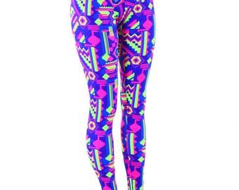 Neon Gemoetric Lime and Purple Aztec Print UV Glow High Waist  Leggings Neon Run or High Waisted Yoga Leggings  151295