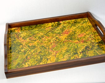 """Wooden serving tray painted """"Epidote""""-"""
