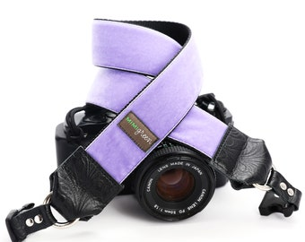 Purple Velvet Camera Neck Strap with Hand Camera Strap -- 1.5 inches wide Camera Strap -- The 'Violet' DSLR Camera Strap