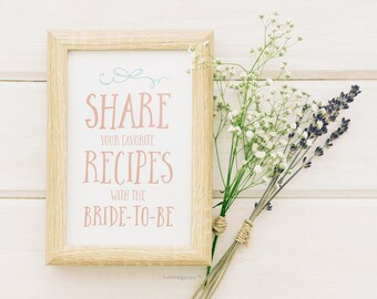 Bridal Shower Recipe Sign Printable