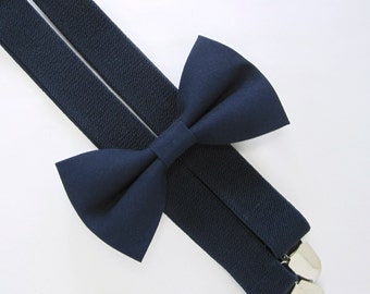 Bow Tie and Suspender Set -Navy Bow Tie and Navy Suspender set for Baby,Toddler and Boys