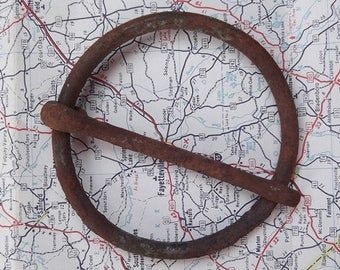 Large Vintage Rusty Circular Buckle - Assemblage, Collage, Steampunk