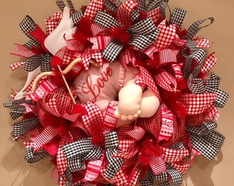 Valentines Gift, Valentine Wreath, Cupid, Cupid Bottom, Front Door Wreath, Designer Wreath, Valentines Wreath, Valentines Day Wreath, Red