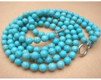 Turquoise Round Bead 3-strand Necklace