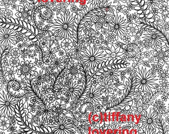 Detailed Flower and Vines Coloring Page