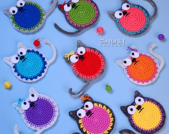CROCHET PATTERN - Curious Cats - a colorful cat pattern, crochet cat applique, ornament pattern,  cat coaster pattern - Instant PDF Download