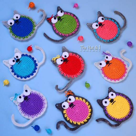 Crochet pattern curious cats a colorful cat pattern crochet pattern curious cats a colorful cat pattern crochet cat applique ornament pattern cat coaster pattern instant pdf download dt1010fo