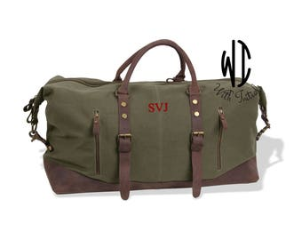 Set 7, Personalized Groomsmen Gift, Military Style Weekend Travel Duffel Bag Canvas Weekender, gifts for him, groomsman gifts gift for groom
