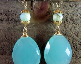 Chalcedony & Gold Earrings, Gemstone Jewelry, Long Dangles