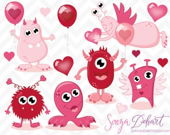 80% OFF SALE Valentine Monsters Clipart Set Commercial Use Valentine's Day Clip Art Digital Vectors -CA203