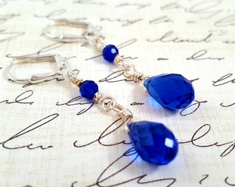 Dark Blue Crystal Earrings - Glass Crystal Earrings - Blue Teardrop Dangle Earrings - Long Cobalt Blue Earrings