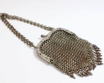 Antique Chainmaille Chain Mail Small Ladies Metal Purse Handbag  Tin Material