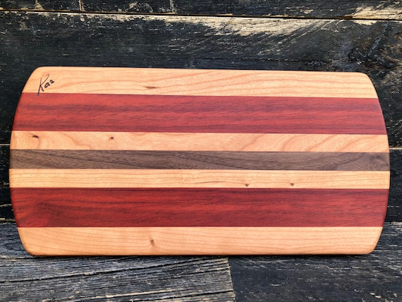 Cheese board made from cherry, bloodwood and walnut woods