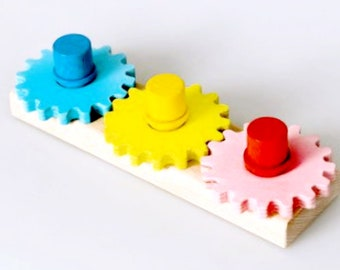 Wooden Gear Shapes stacker (mini), Stacking rainbow, Wooden ring stacker, Wooden rainbow, Montessori baby toy, Waldorf toy, Educational toy