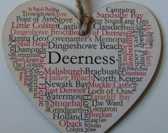 Deerness Hanging Heart Decoration, 10cm wide wooden Heart, Deerness Orkney Islands.