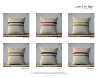 CUSTOM Striped Pillow Cover in Stone Grey & Natural Linen by JillianReneDecor - Modern Home Decor - Urban Decor, Colorful Pillows