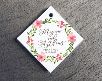 Floral Wreath Wedding Favor Tags Thank You Wedding Tags Die-cut Paper Hang Tags, Custom Gift Tags Square Gift Tags Floral Welcome Bag Tags