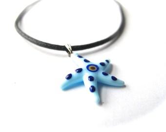 Aqua Blue Starfish Evil Eye Pendant