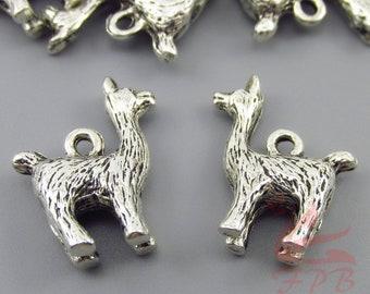 5 Llama Alpaca Charms 18mm Wholesale Antiqued Silver Plated Animal Pendants SC0088505