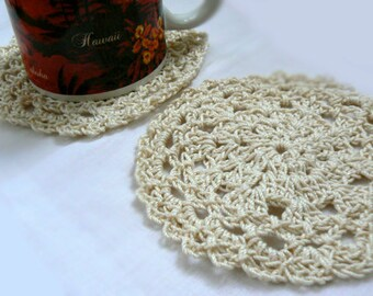 Pizzelle crochet table coasters doilies. Vintage inspired doily, lace doily set of 4. Home decor,boho decor,wedding favor coasters gift