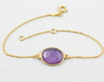 Amethyst Bracelet, Gold Gemstone Bracelet, Genuine Amethyst Bracelet, Gold Amethyst Bracelet, Stacking Bracelet, Labradorite Bracelet SB0174