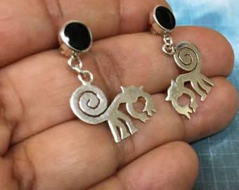 Nazca Silver Earrings, Nazca Monkey Earrings, Sterling Silver Nazca Lines Earrings, 950 Sterling Silver Nazca Earrings