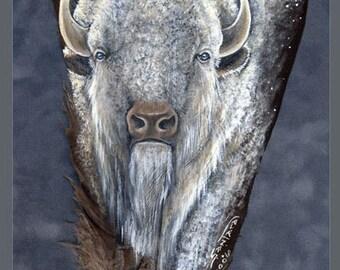 White Buffalo and Golden Eagle Feather Print