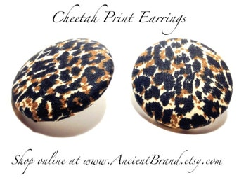 Oversized Cheetah Print Button Earrings